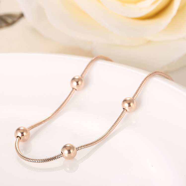 Classy Plated Chain Beads Anklet for Summer Wear