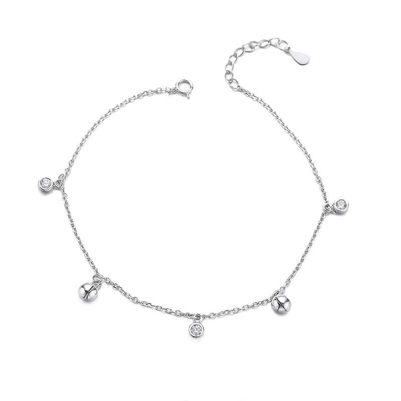 Silver Bell and Round Crystal Charm Anklet