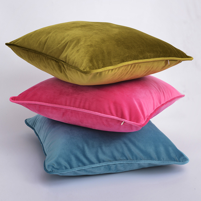 Pure Color Velvet Pillowcase for Indian Seat Support Pillow