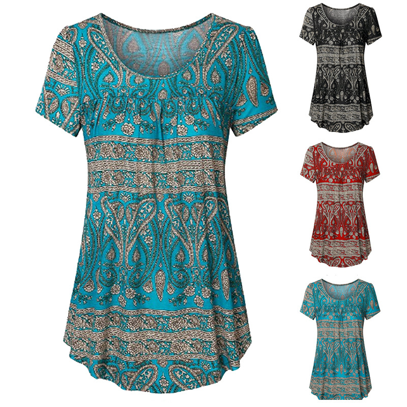 Retro Floral Short Sleeve Polyester Dress for Ladies