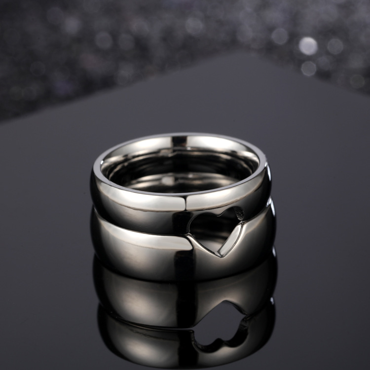 Loveable Titanium Steel Half Heart Ring for Wedding Proposals