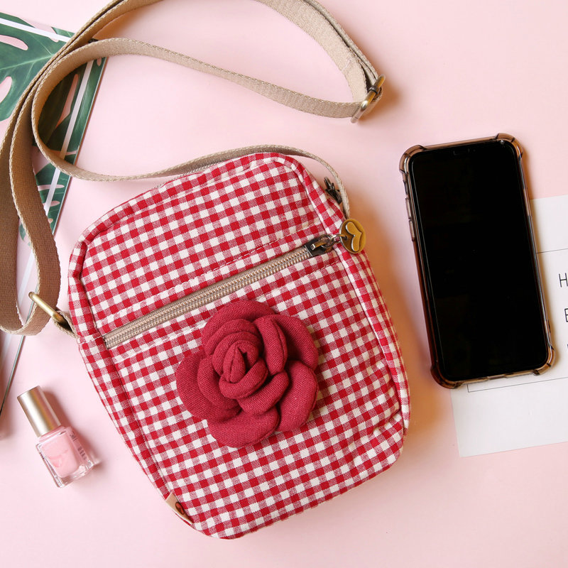 Rose on Red Plaid Phone Pouch