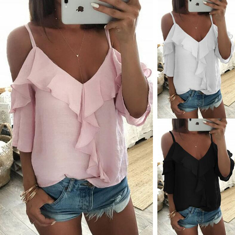 Eye-Catching Ruffled V-Neck Cold Shoulder Sleeve Shirt for Casual Women's Top