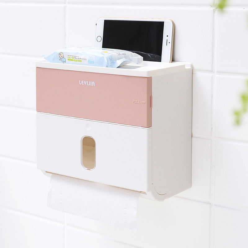Wall-Mounted Storage Box with Tissue Holder for Bathrooms