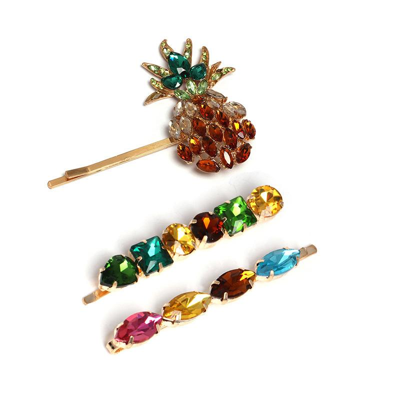 Pineapple and Crystals Hair Clip