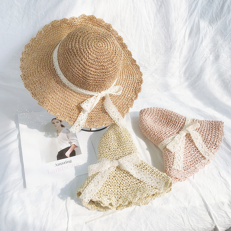 Mother and Daughter Wave Edge Straw Hat