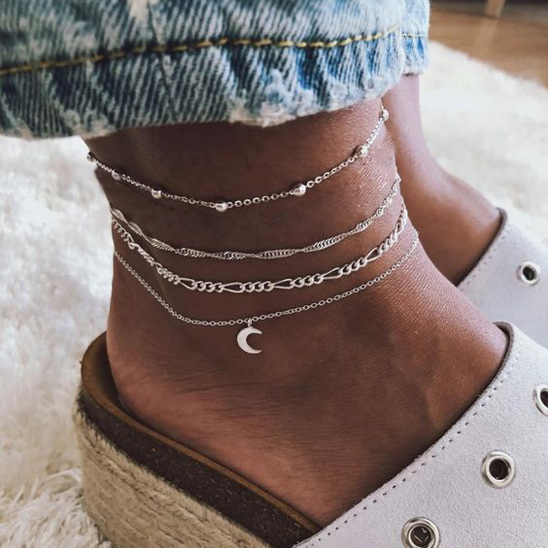 Multi-Chain Crescent Moon Anklet for Cropped Jeans