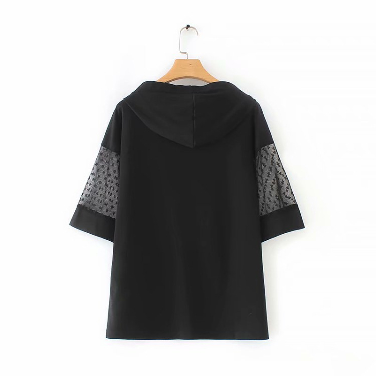 Loose And Simple Hooded Short Sleeve Shirt for Casual Wear