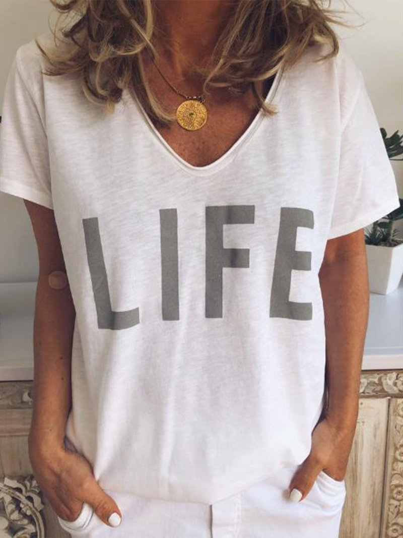 """Vibrant """"LIFE"""" V-Neck Shirt for Everyday Outfit"""