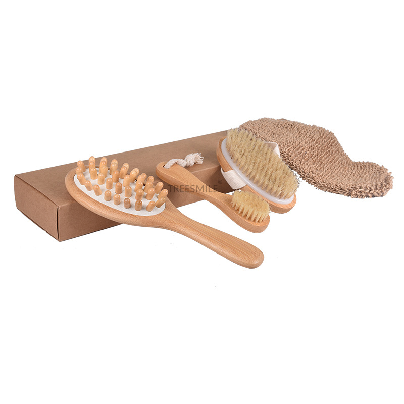 Nifty Wooden Bathroom Brush Kit with Plant Fiber for Elegant Beauty Tools