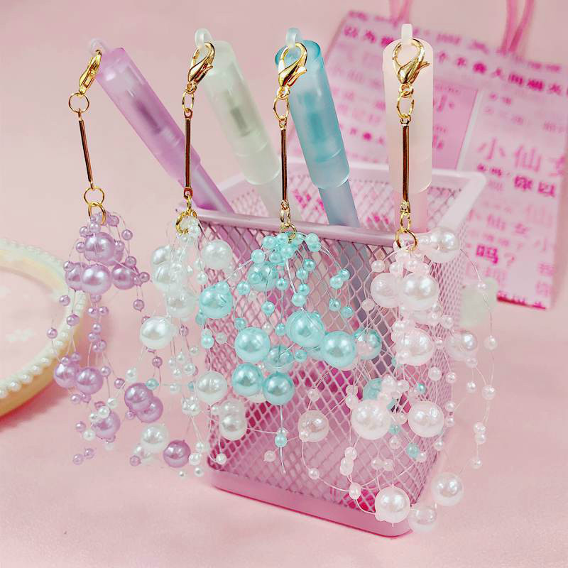 Shining Faux Pearl String Pendant for Student Stationery Stuff