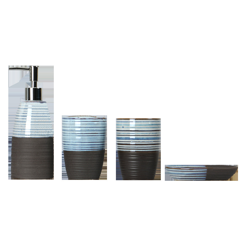 Two-Tone Ceramic Bathroom Set for Holiday Gifts