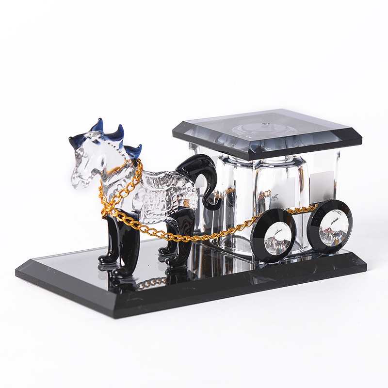 Crystal Horse Carriage Car Perfume Holder for Fancy Car Decor and Aromatherapy