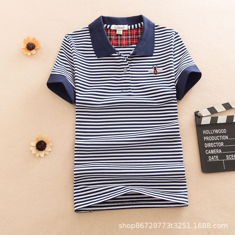Trendy Striped Polo Shirt with Bee Embroidery for Sports and Leisure