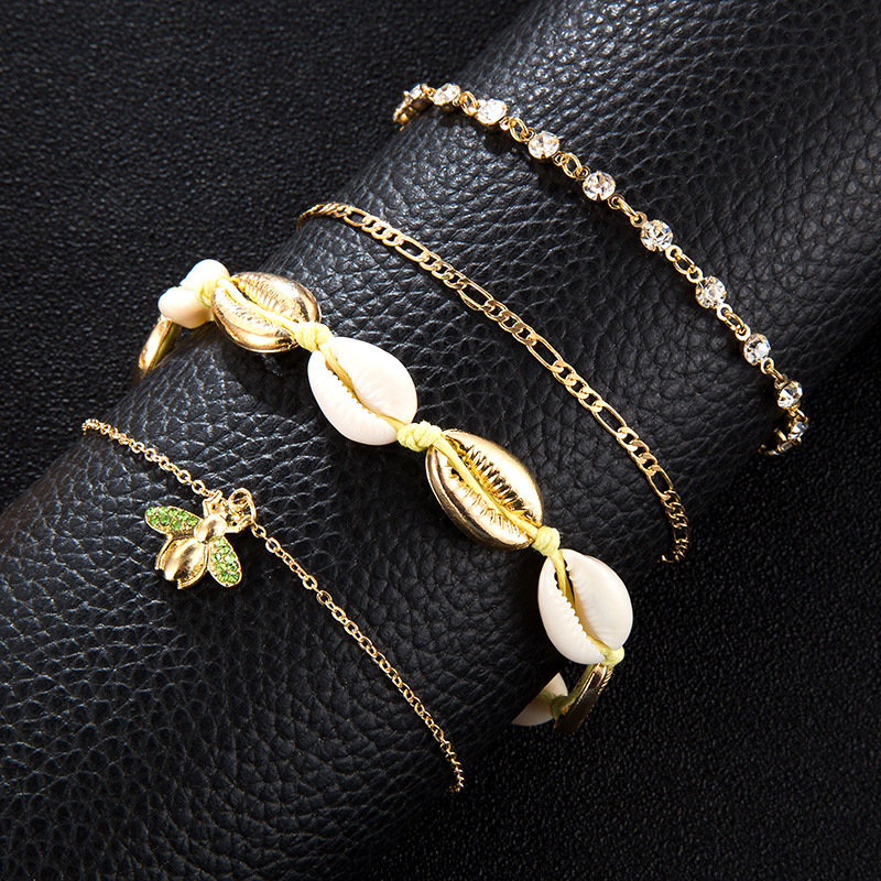 Beaches and Bees Anklet Set (4 Pieces/Set)