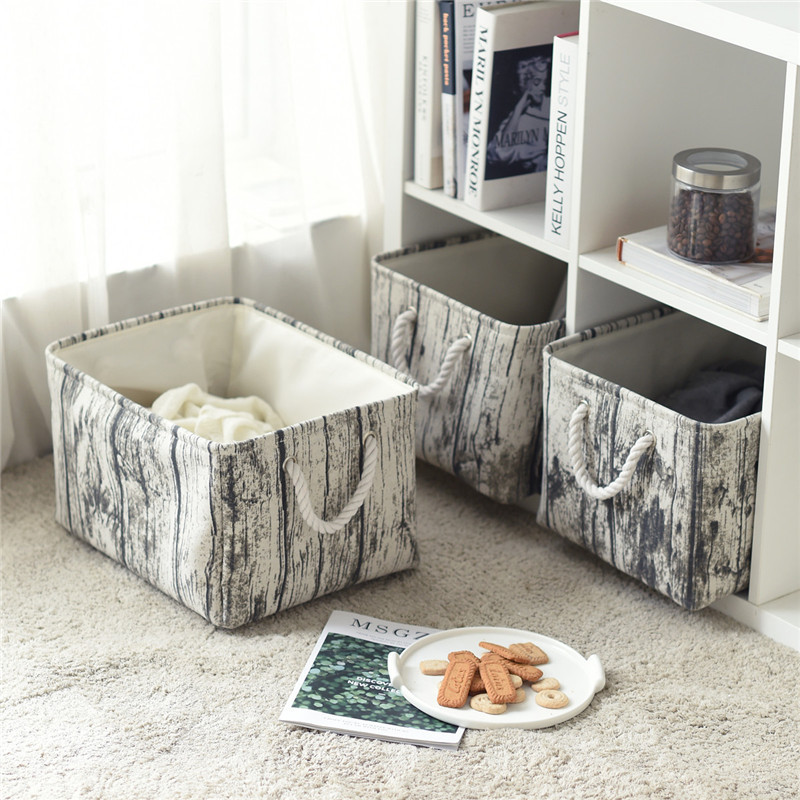 Stylish Foldable Organizer Box with Rope Handle for Storing Household Items