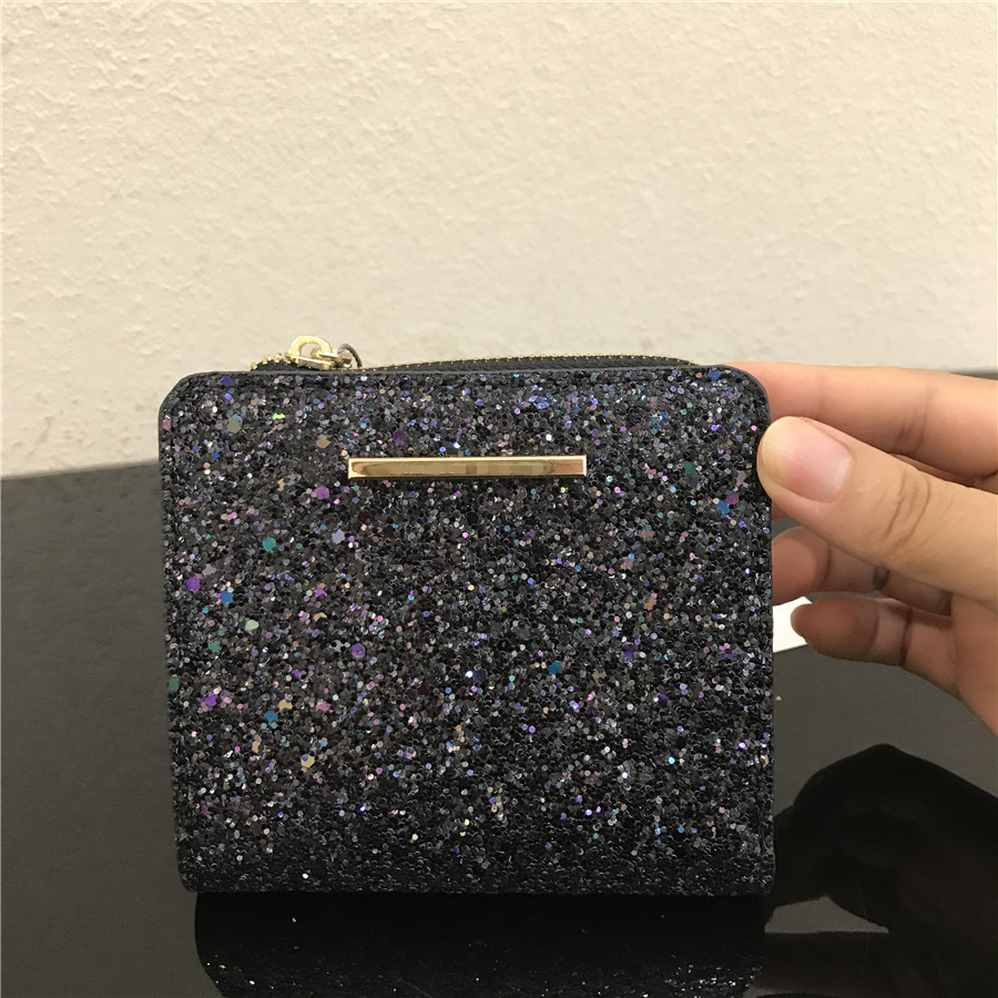 Glittery Zippered Short Wallet for Ladies Night Outs