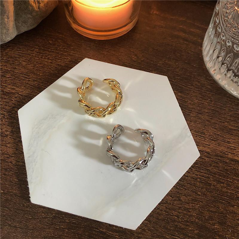Hollow Twisted Chain Open Ring