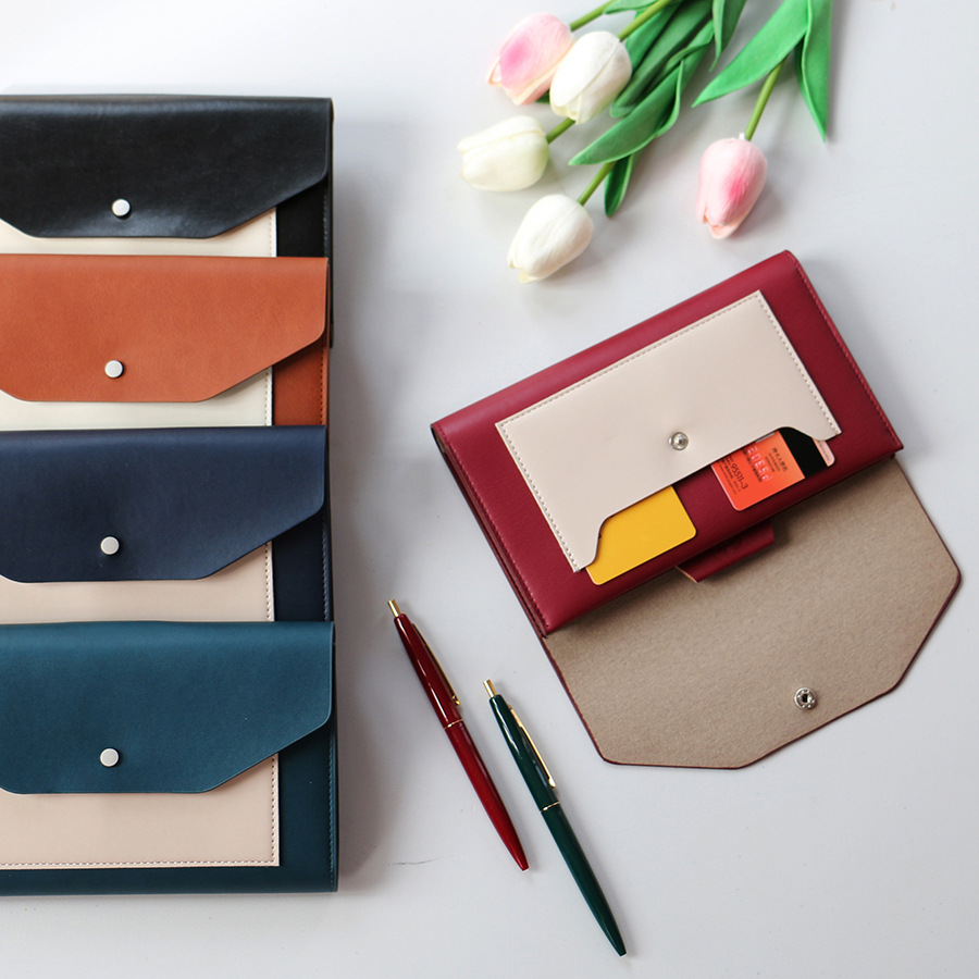 Fine Faux Leather Envelope-Style Notebook for Writing Work Schedules