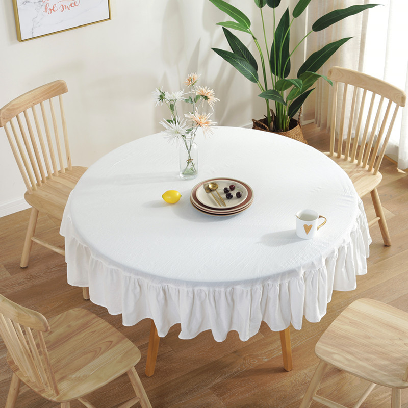 Graceful Ruffled Pure-Colored Tablecloth for European Style Table Settings