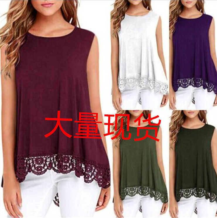Simple and Plain Hem Lace Round Neck Sleeveless Shirt for Daily Use