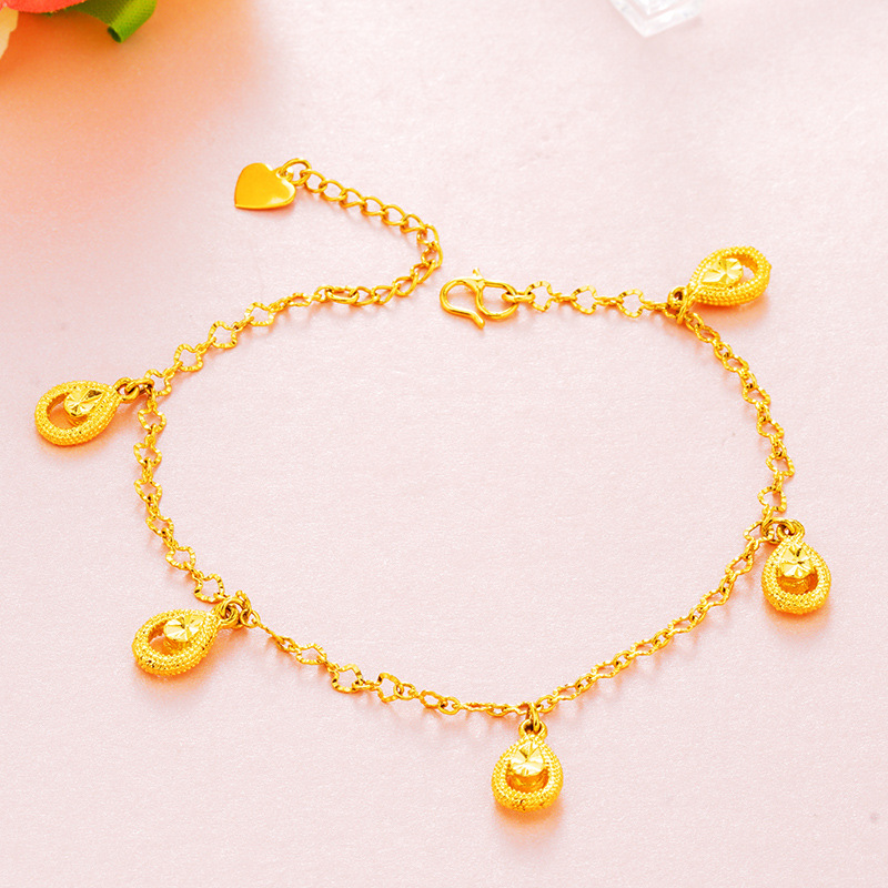 Golden Teardrop Charm Anklets for Lucky Days