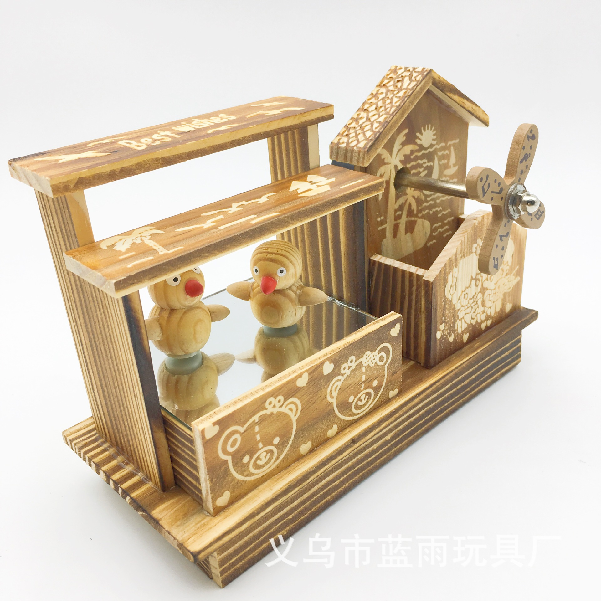 First-Rate Wooden Windmill Music Box for Aesthetic Wooden Table Ornaments
