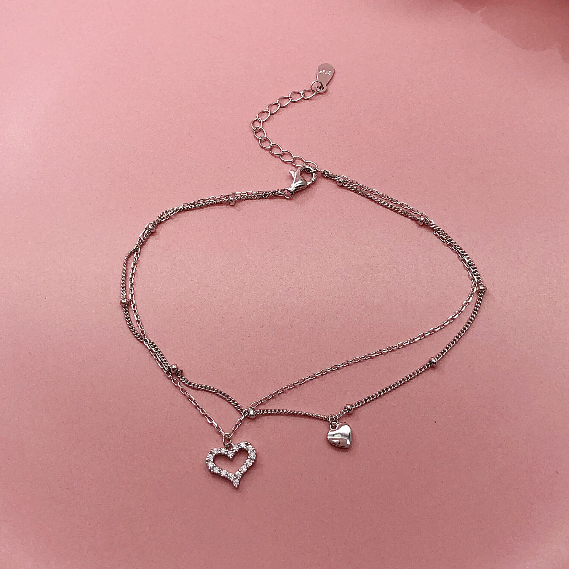 Dainty Double-Layered Heart Anklet for Exquisite Foot Accessory