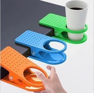 Useful Plastic Cup Holder Clip for Attaching to Desks