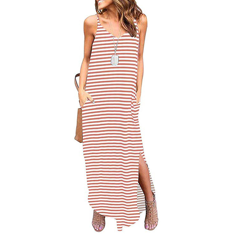 Simple Stripe V-Neck Sleeveless Dress with Slit for Hangouts