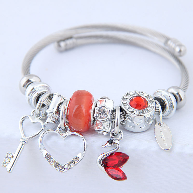 Chic and Multi-Element Heart and Key Adjustable Bracelet for Valentine's Day Present