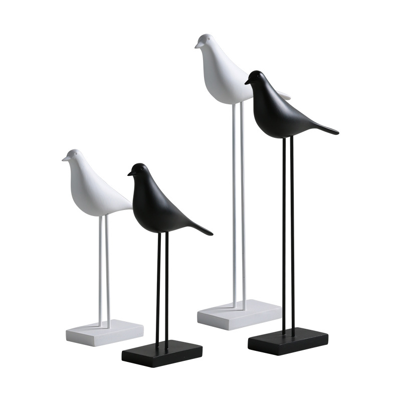 Black and White Perched Resin Birds for Minimalist Interiors