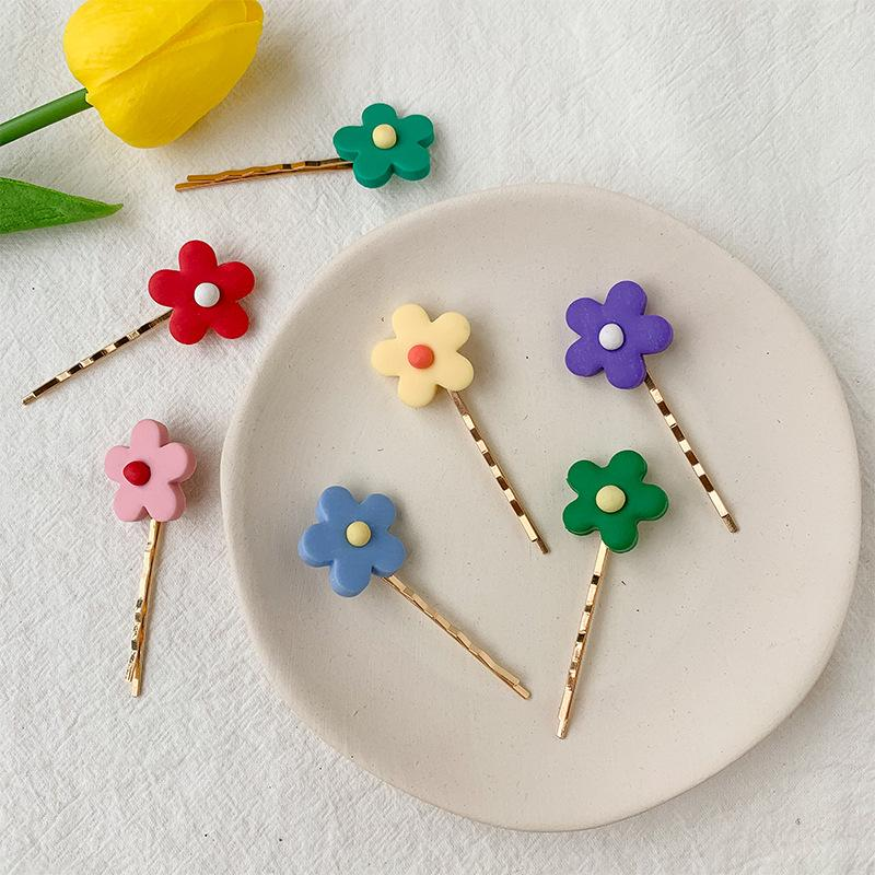 Candy Colored Flower Wavy Hair Clip