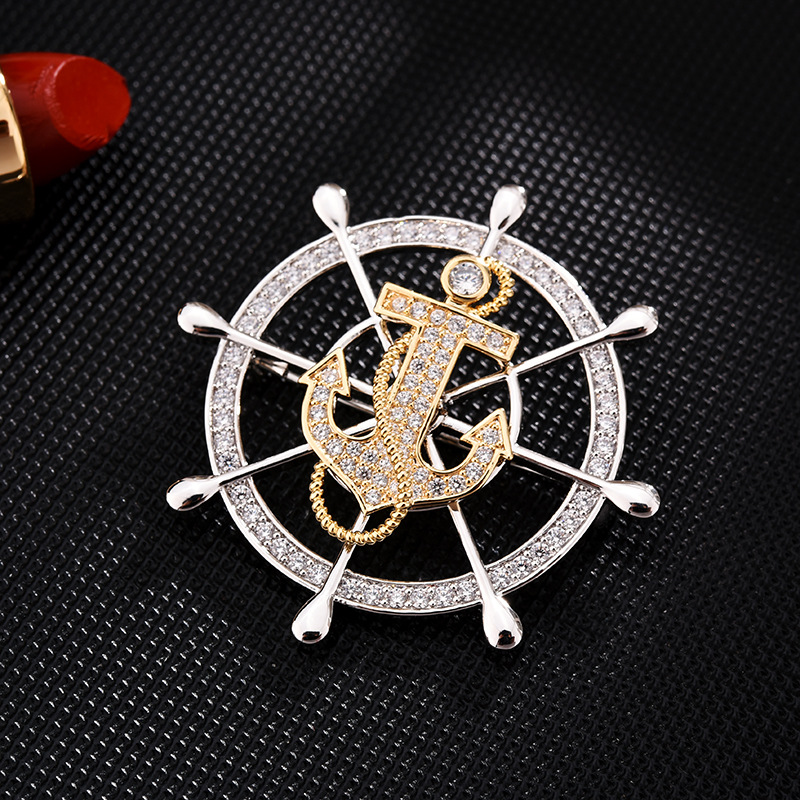 Sailor Wheel and Anchor Brooch for Formal Events