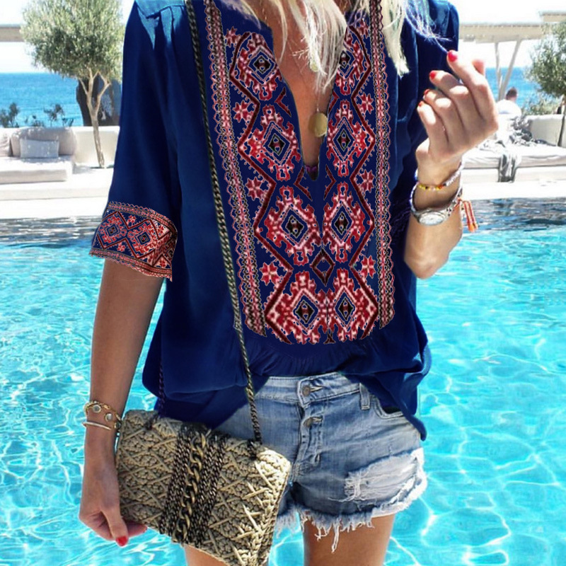 Tribal Printed Plunging Neckline Top for Boho Chic Aesthetics