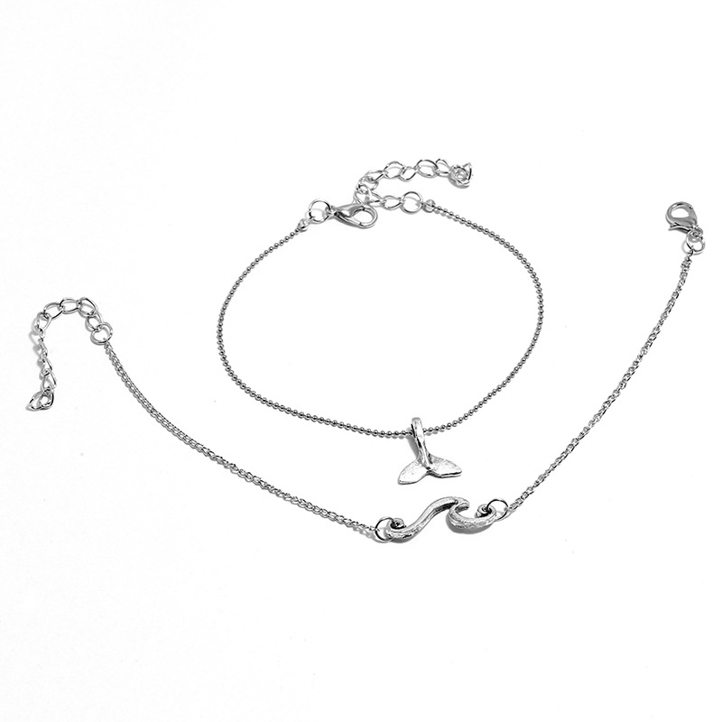 Wylla Whale and Wave Anklet Set