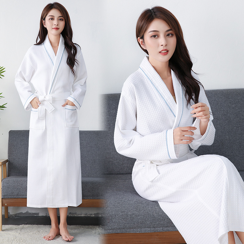 Waffle Cotton Bath Robe with Dual Pocket for Bath and Shower