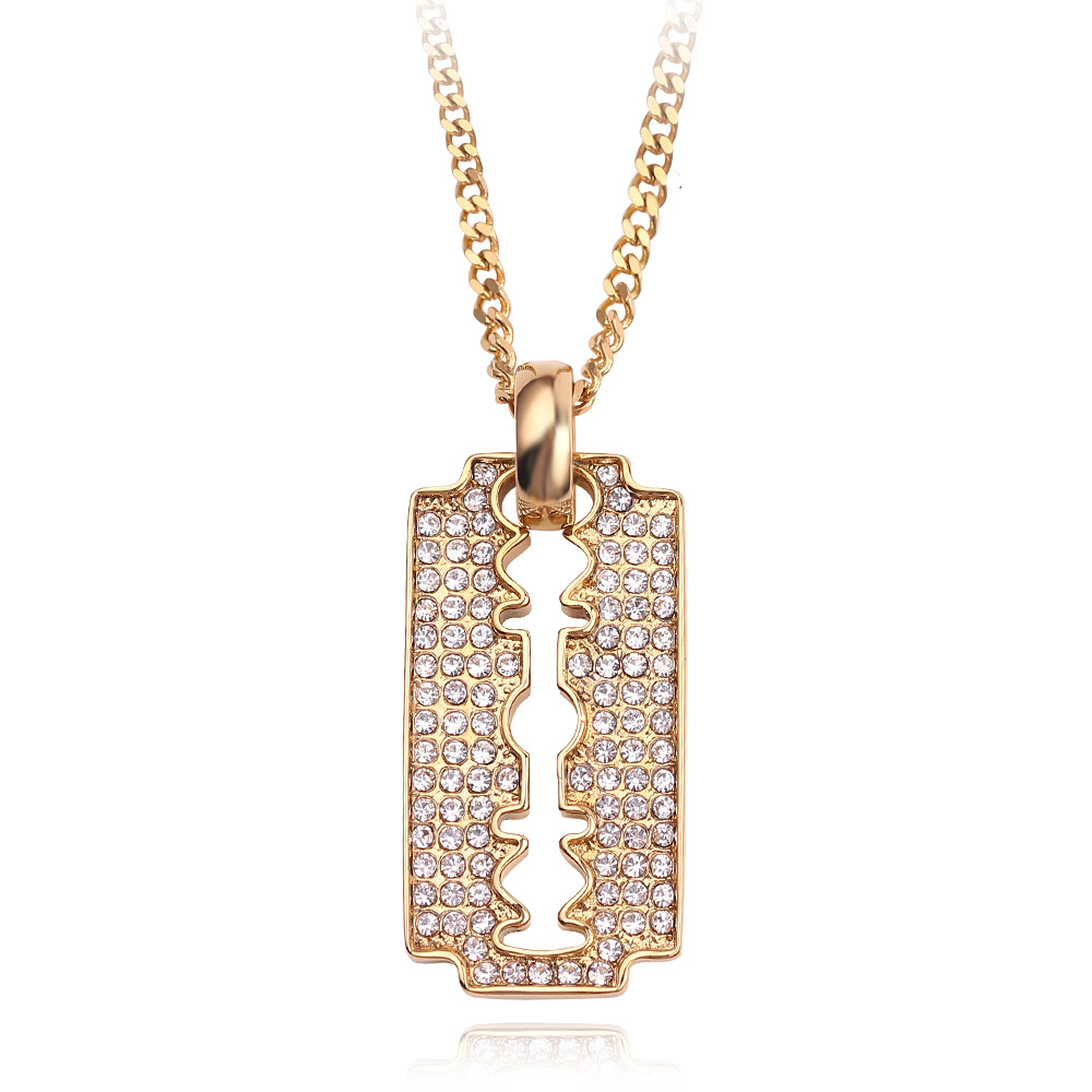Faux Diamond-Studded Blade Pendant Chain Necklace for Matching Loose T-Shirts