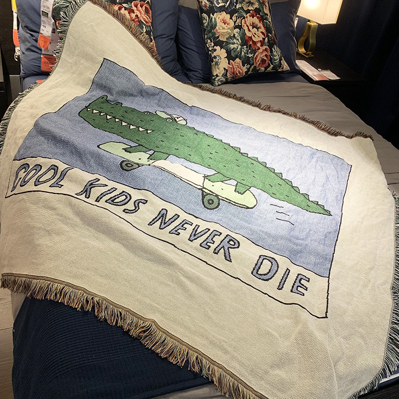 Quirky Fringed Blanket with Crocodile Print for Keeping You Warm