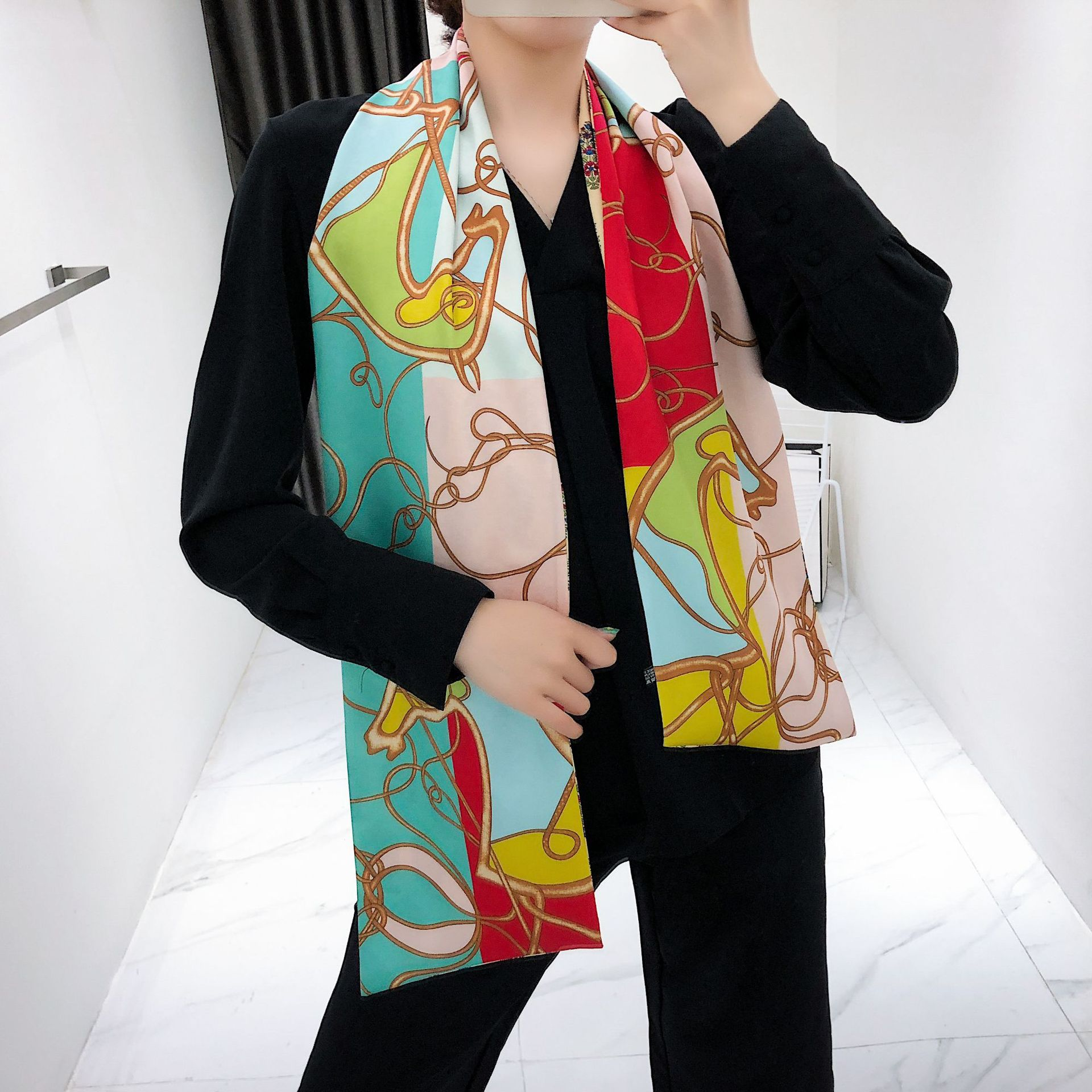 Astonishing Long Satin Scarf for Women's Pretty Fashion Accents