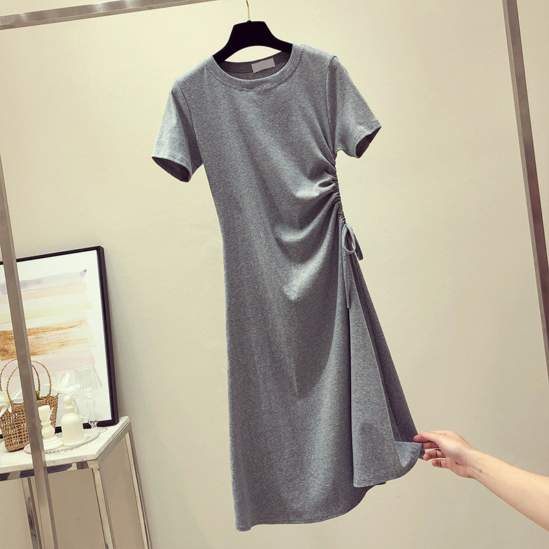 Alluring Bodycon Short-Sleeve Ruched Round Neck Polyester Dress for Graduation Parties