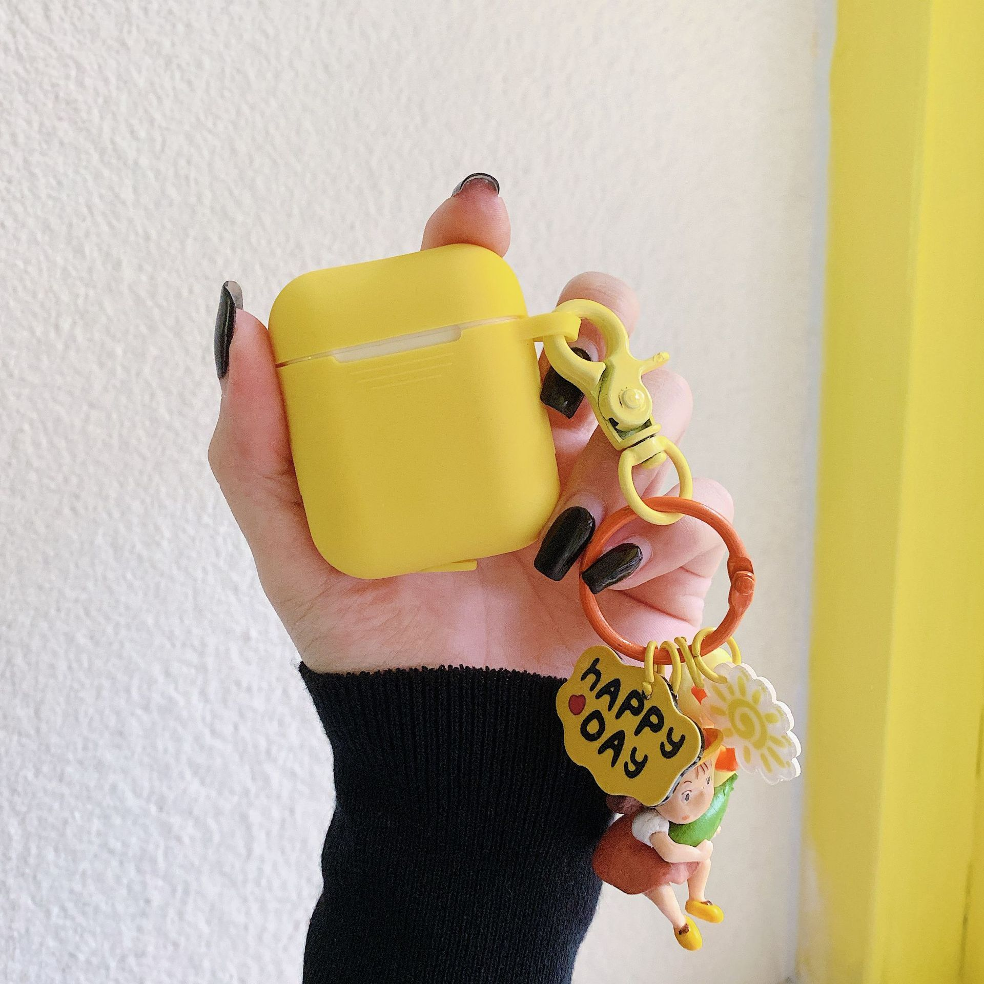 Yellow/Orange AirPods Case with Keychain
