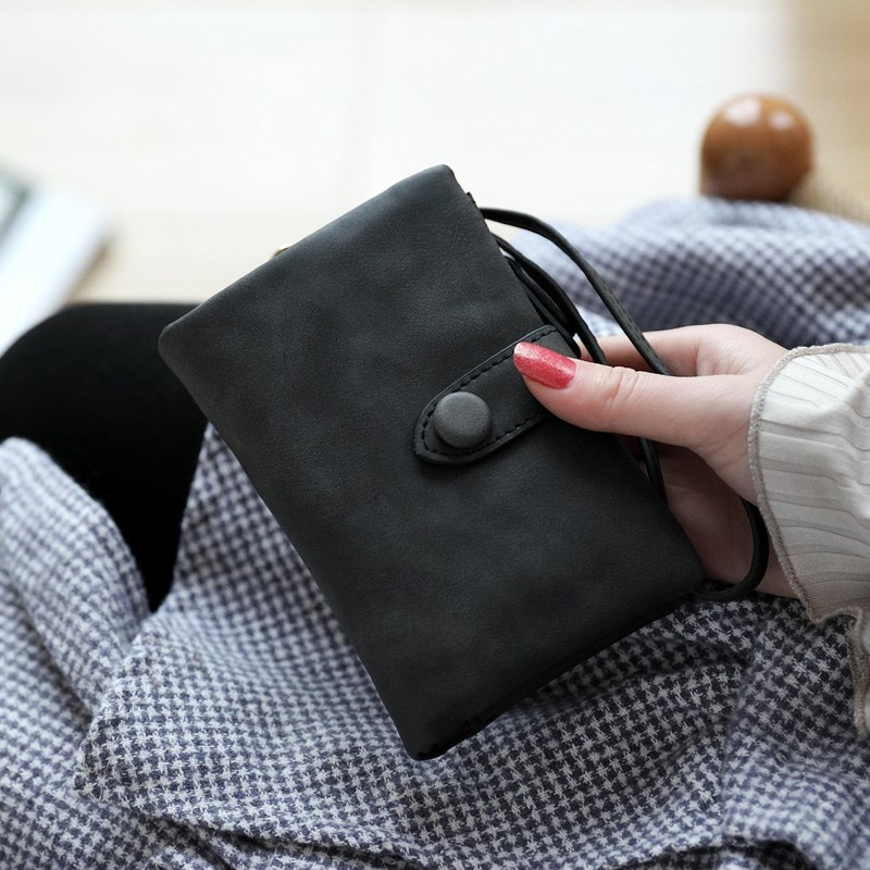 Smooth Short Wallet with Wristlet for Ladies