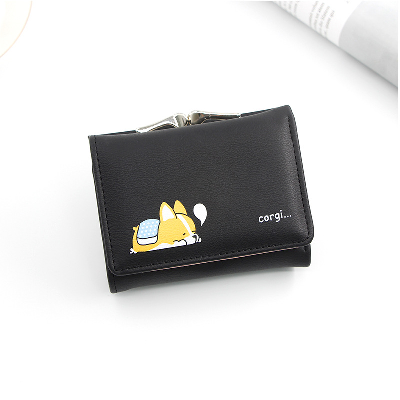 Tri-Fold Cute Dog Wallet for Girl-Next-Door Style
