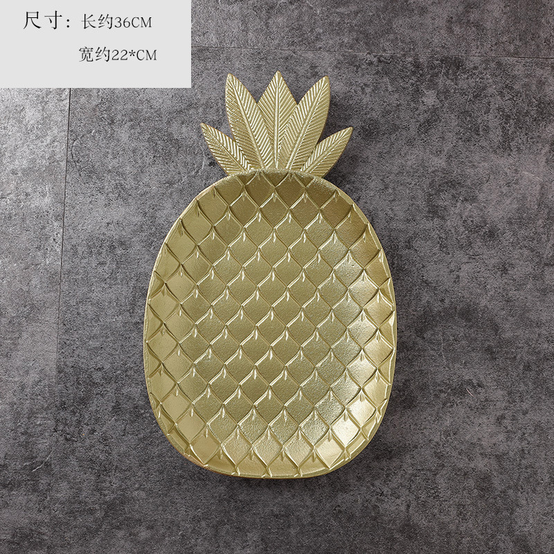 Golden Wood Pineapple and Leaf Tray for Jewelries