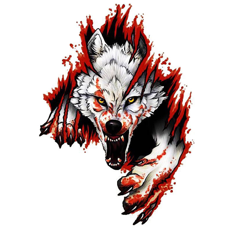 Realistic Fiery Wolf Car Sticker for Decorating Your Cars