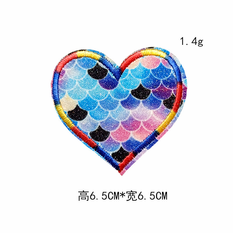 Cute Embraided Multicolor and Assorted Design Heart Patch Stickers for Clothes