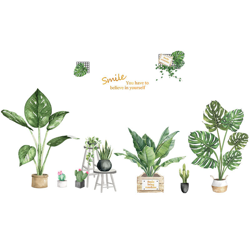 Adhesive Plant Designed Wall Sticker for Plant Shop