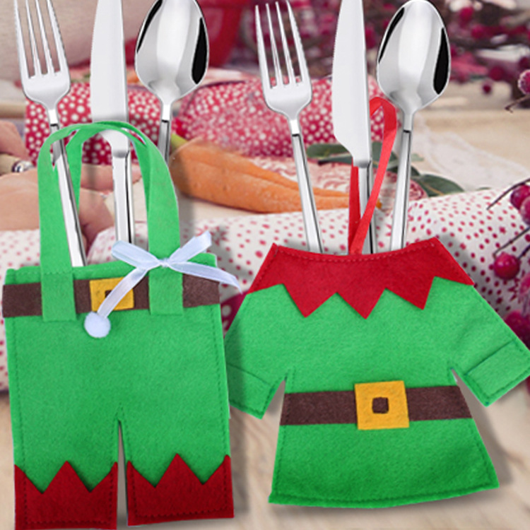Handy Elf Costume Utensil Bag for Hosting a Rustic Christmas Party