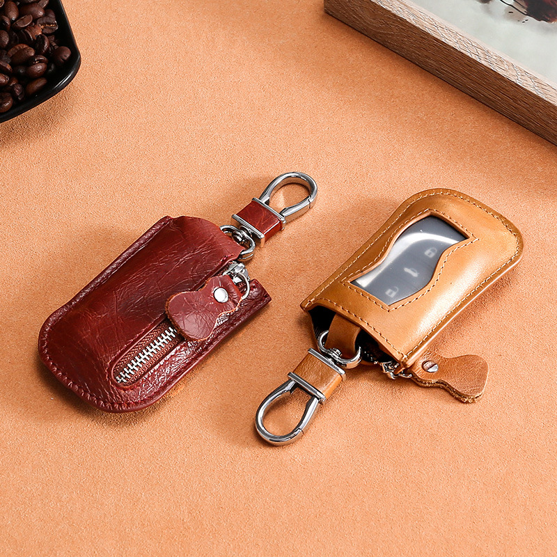 Tiny Genuine Leather Car Key Cover for Protection